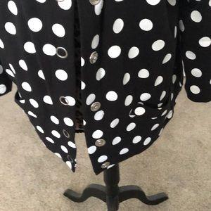 Sportelle Tops - Black and white polka dot 3/4 length sleeve jacket